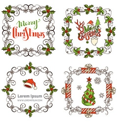 Set of Christmas ornate frames vector