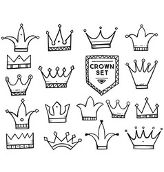 Set of hand drawn cartoon crowns vector