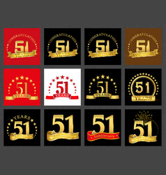 Set of number fifty-one 51 years celebration vector
