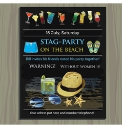 Stag-party invite on the beach Holiday vacation vector
