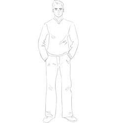 Standing young man vector