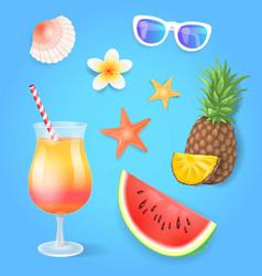 summer season pineapple set vector image