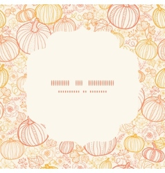 Thanksgiving line art pumkins circle frame vector
