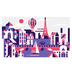 travel poster with paris france famous landmarks vector image