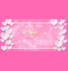 Valentines day sale background with papercut vector