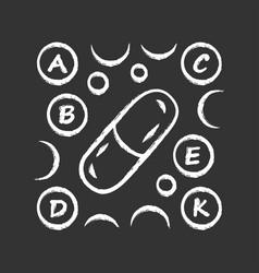 Vitamin pills chalk icon a b c d e k multi vector