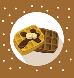 waffles chocolate breakfast icon flat retro vector image