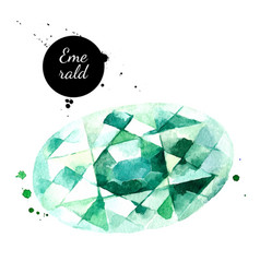 Watercolor hand drawn emerald gemstone crystal vector
