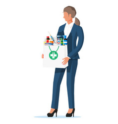 woman holding drugstore bag vector image