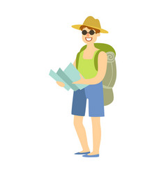young man standing with tourist backpack and vector image