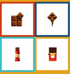Flat icon sweet set of chocolate bar cocoa vector