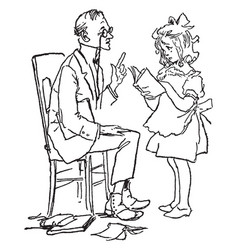 girl with tutor young vintage engraving vector image vector image