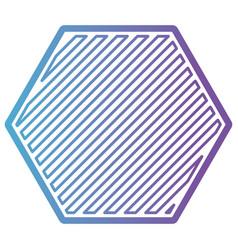 hexagon shape emblem in color gradient silhouette vector image