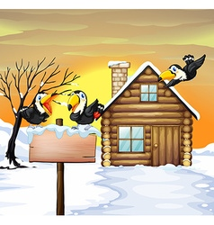 Log home and toucans in winter snow vector image vector image