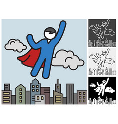 flying superhero save city vector image vector image