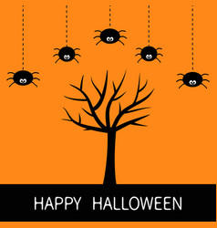 happy halloween card black tree silhouette plant vector image vector image