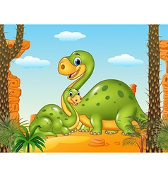 Happy mother with baby dinosaur in prehistoric vector image vector image