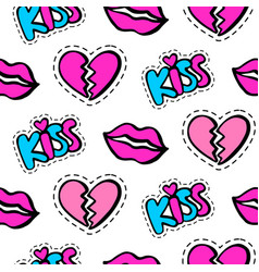 Lips hearts and kiss patches seamless pattern vector