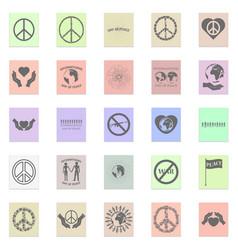 peace set black icon on color sticker vector image