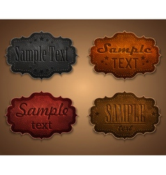 Set leather labels vector image