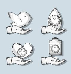 set symbol to blood donation transfusion vector image