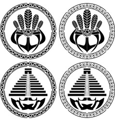 stencils of native indian american masks vector image vector image