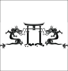 torii and dragons stencil vector image vector image