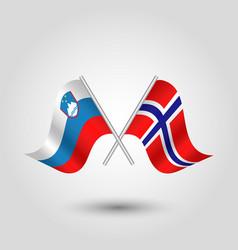 two crossed slovenian and norwegian flags vector image vector image