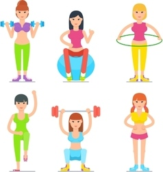 Women Fitness Cartoon Icons Collection vector image