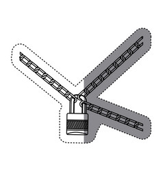 chains with padlock icon image vector image