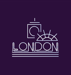 Creative london city logo in line style abstract vector