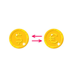 Exchange dollar euro cartoon style isolated vector