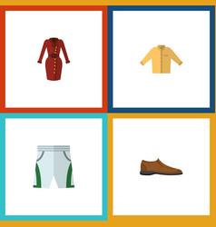 flat icon garment set of male footware banyan vector image