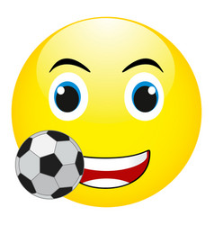 funny smile with a soccer ball isolated vector image