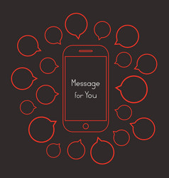 message for you with red smartphone and speech vector image