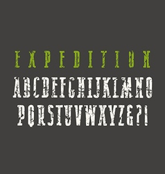 Narrow serif font in the style of hand drawn vector image