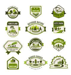 park green city garden eco landscaping badge set vector image vector image