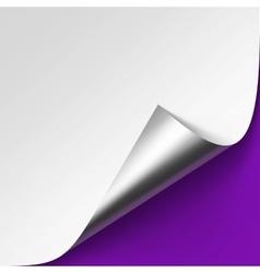 Silver corner of White paper on Violet Background vector image vector image