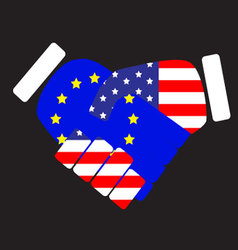Symbol sign handshake European Union and USA vector image