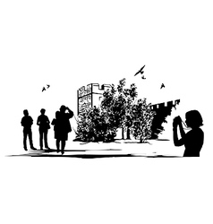 Ancient Castle Tourists vector image vector image