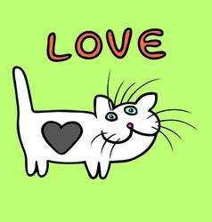 cute heart cat cartoon character vector image vector image