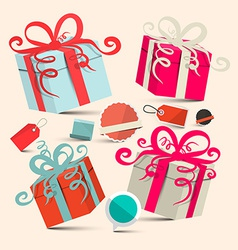 Gift Boxes Set with Empty Labels - Retro vector image vector image