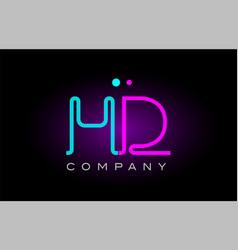 neon lights alphabet hd h d letter logo icon vector image vector image