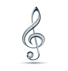 Silver treble clef with diamonds vector image