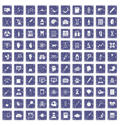 100 diagnostic icons set grunge sapphire vector