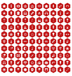 100 light icons hexagon red vector image