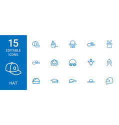 15 hat icons vector