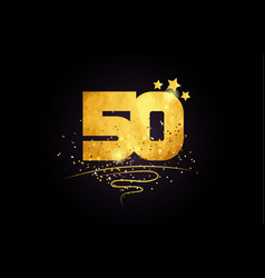 50 number icon design with golden star and glitter vector image