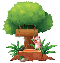 A pig and a bird above a stump in front of a vector image