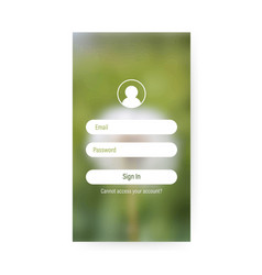 app login screen signup sign in password screen vector image